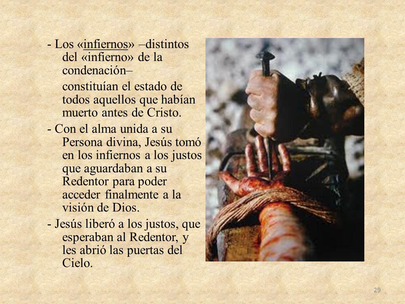 - Los «infiernos» –distintos del «infierno» de la condenación– constituían el estado de todos aquellos que habían muerto antes de Cristo. - Con el alm