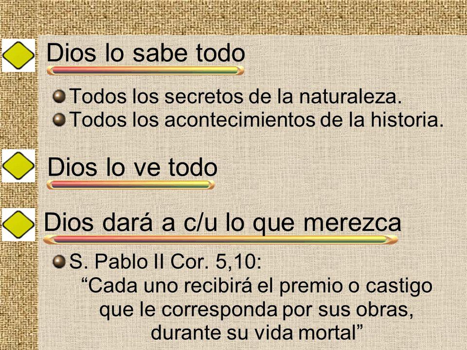 Dios lo sabe todo Todos los secretos de la naturaleza. Todos los acontecimientos de la historia. S. Pablo II Cor. 5,10: Cada uno recibirá el premio o