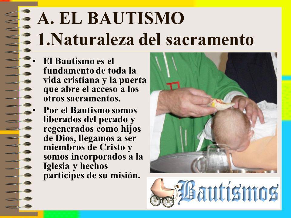 A. EL BAUTISMO 1.Naturaleza del sacramento El Bautismo es el fundamento de toda la vida cristiana y la puerta que abre el acceso a los otros sacrament