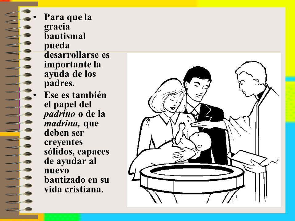 Para que la gracia bautismal pueda desarrollarse es importante la ayuda de los padres. Ese es también el papel del padrino o de la madrina, que deben