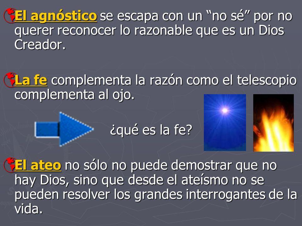 El agnóstico se escapa con un no sé por no querer reconocer lo razonable que es un Dios Creador. El agnóstico se escapa con un no sé por no querer rec