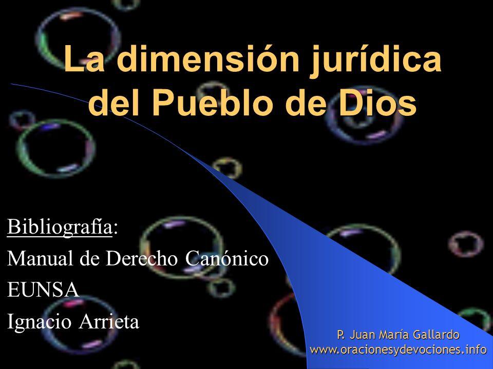 La dimensión jurídica del Pueblo de Dios Bibliografía: Manual de Derecho Canónico EUNSA Ignacio Arrieta P. Juan María Gallardo www.oracionesydevocione