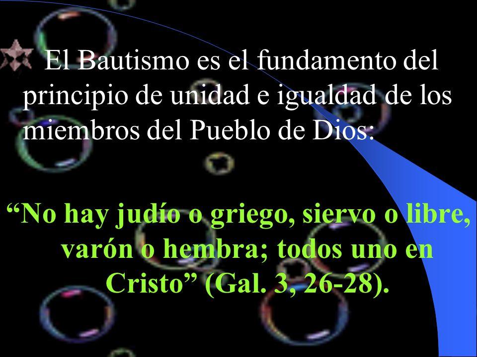 El Bautismo es el fundamento del principio de unidad e igualdad de los miembros del Pueblo de Dios: No hay judío o griego, siervo o libre, varón o hem