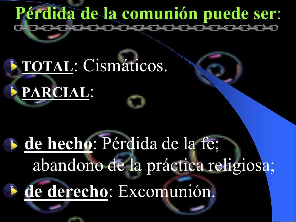 Pérdida de la comunión puede ser: TOTAL : Cismáticos. PARCIAL : de hecho: Pérdida de la fe; abandono de la práctica religiosa; de derecho: Excomunión.