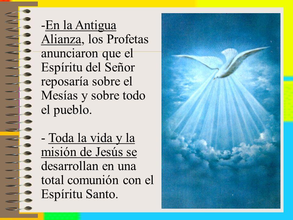 -En la Antigua Alianza, los Profetas anunciaron que el Espíritu del Señor reposaría sobre el Mesías y sobre todo el pueblo.