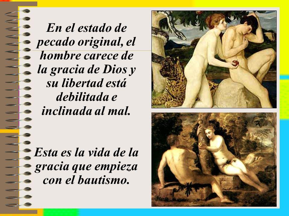 En el estado de pecado original, el hombre carece de la gracia de Dios y su libertad está debilitada e inclinada al mal.