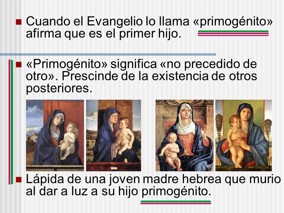 Cuando el Evangelio lo llama «primogénito» afirma que es el primer hijo. «Primogénito» significa «no precedido de otro». Prescinde de la existencia de