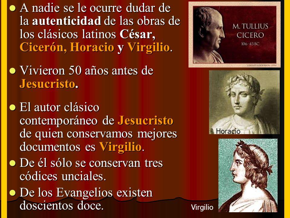 A nadie se le ocurre dudar de la autenticidad de las obras de los clásicos latinos César, Cicerón, Horacio y Virgilio. A nadie se le ocurre dudar de l