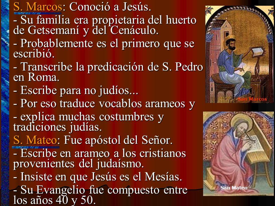 S. Marcos: Conoció a Jesús. S. Marcos: Conoció a Jesús. - Su familia era propietaria del huerto de Getsemaní y del Cenáculo. - Probablemente es el pri