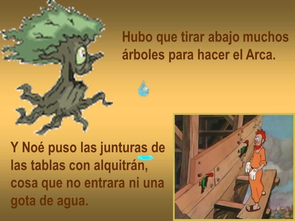 Hubo que tirar abajo muchos árboles para hacer el Arca. Y Noé puso las junturas de las tablas con alquitrán, cosa que no entrara ni una gota de agua.
