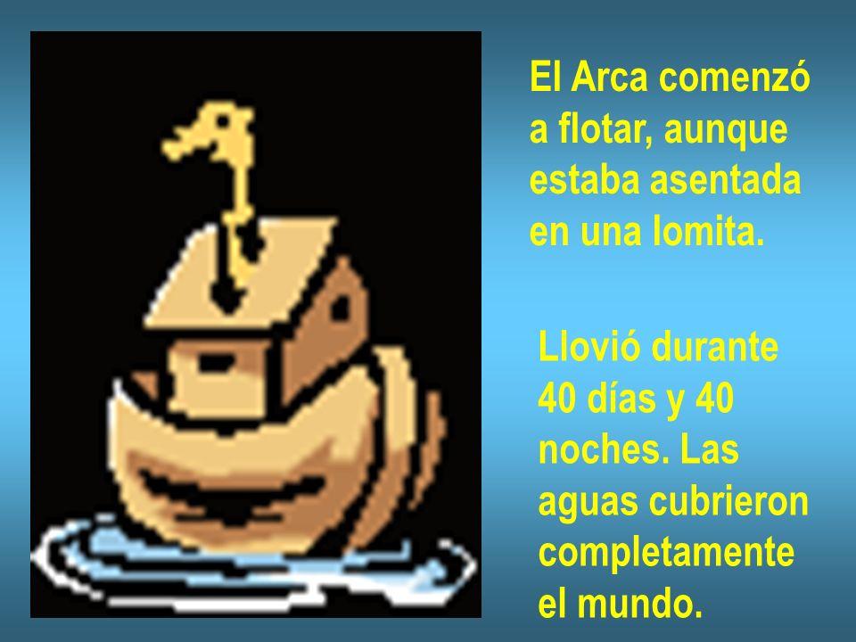 El Arca comenzó a flotar, aunque estaba asentada en una lomita. Llovió durante 40 días y 40 noches. Las aguas cubrieron completamente el mundo.