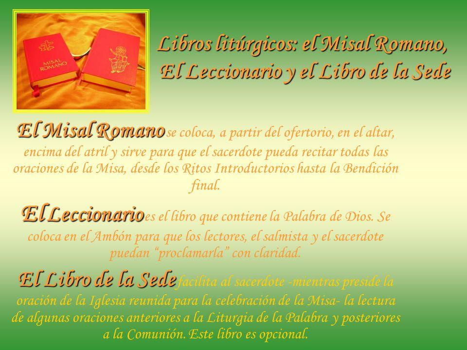 El atril de altar El Atril de altar tiene la finalidad de facilitar al sacerdote la lectura del Misal. Su uso no es obligatorio. Antiguamente se usaba