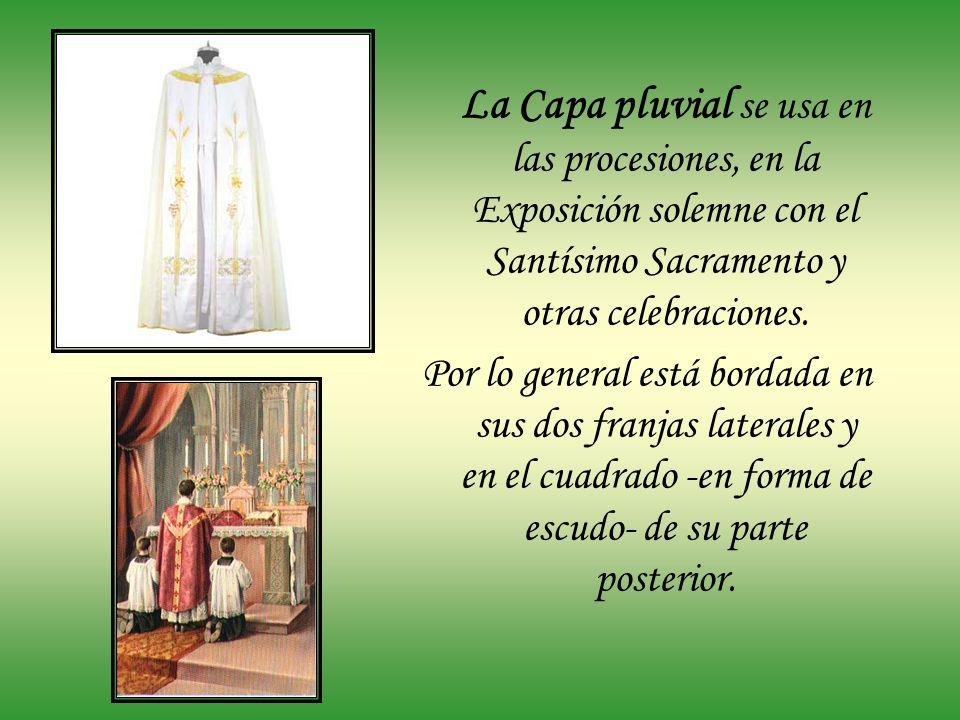La Sobrepelliz es semejante al alba, pero más corta. Se coloca encima de la sotana y se usa para administrar sacramentos y realizar algunas ceremonias