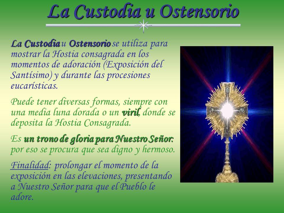 La Patena Patenavaso sagrado, La Patena es un vaso sagrado, que acompaña al Cáliz. Ordinariamente tiene la forma de un plato en el que se coloca la ho