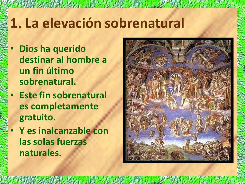 1. La elevación sobrenatural Dios ha querido destinar al hombre a un fin último sobrenatural. Este fin sobrenatural es completamente gratuito. Y es in