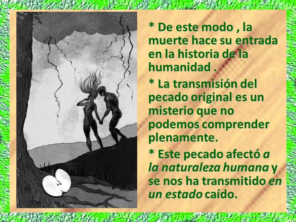 * De este modo, la muerte hace su entrada en la historia de la humanidad. * La transmisión del pecado original es un misterio que no podemos comprende