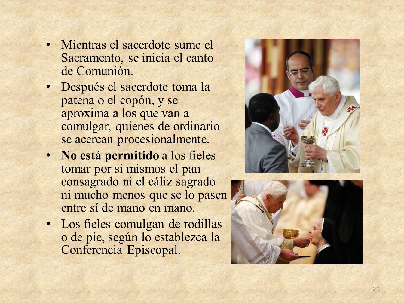 Mientras el sacerdote sume el Sacramento, se inicia el canto de Comunión.