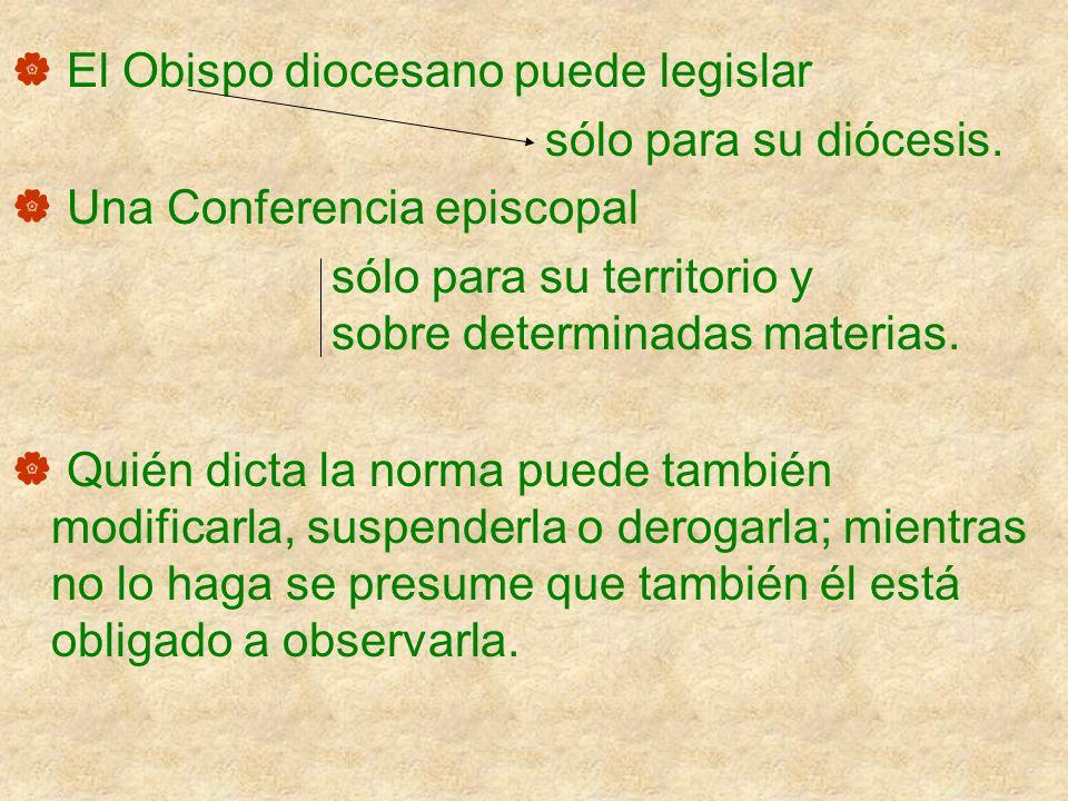 El Obispo diocesano puede legislar sólo para su diócesis. Una Conferencia episcopal sólo para su territorio y sobre determinadas materias. Quién dicta