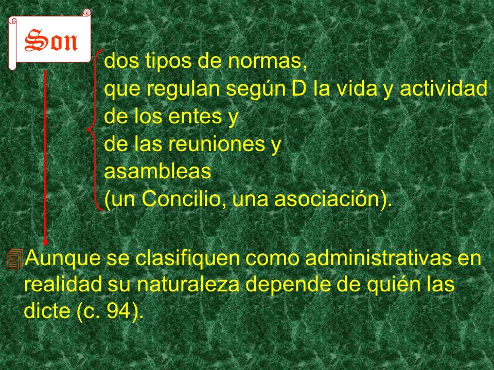 dos tipos de normas, que regulan según D la vida y actividad de los entes y de las reuniones y asambleas (un Concilio, una asociación). Aunque se clas