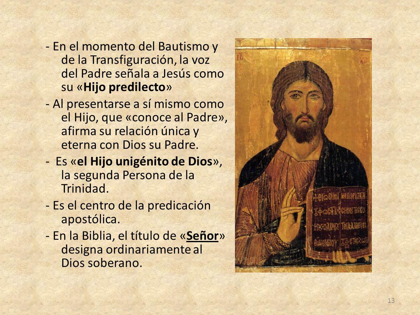 - En el momento del Bautismo y de la Transfiguración, la voz del Padre señala a Jesús como su «Hijo predilecto» - Al presentarse a sí mismo como el Hi