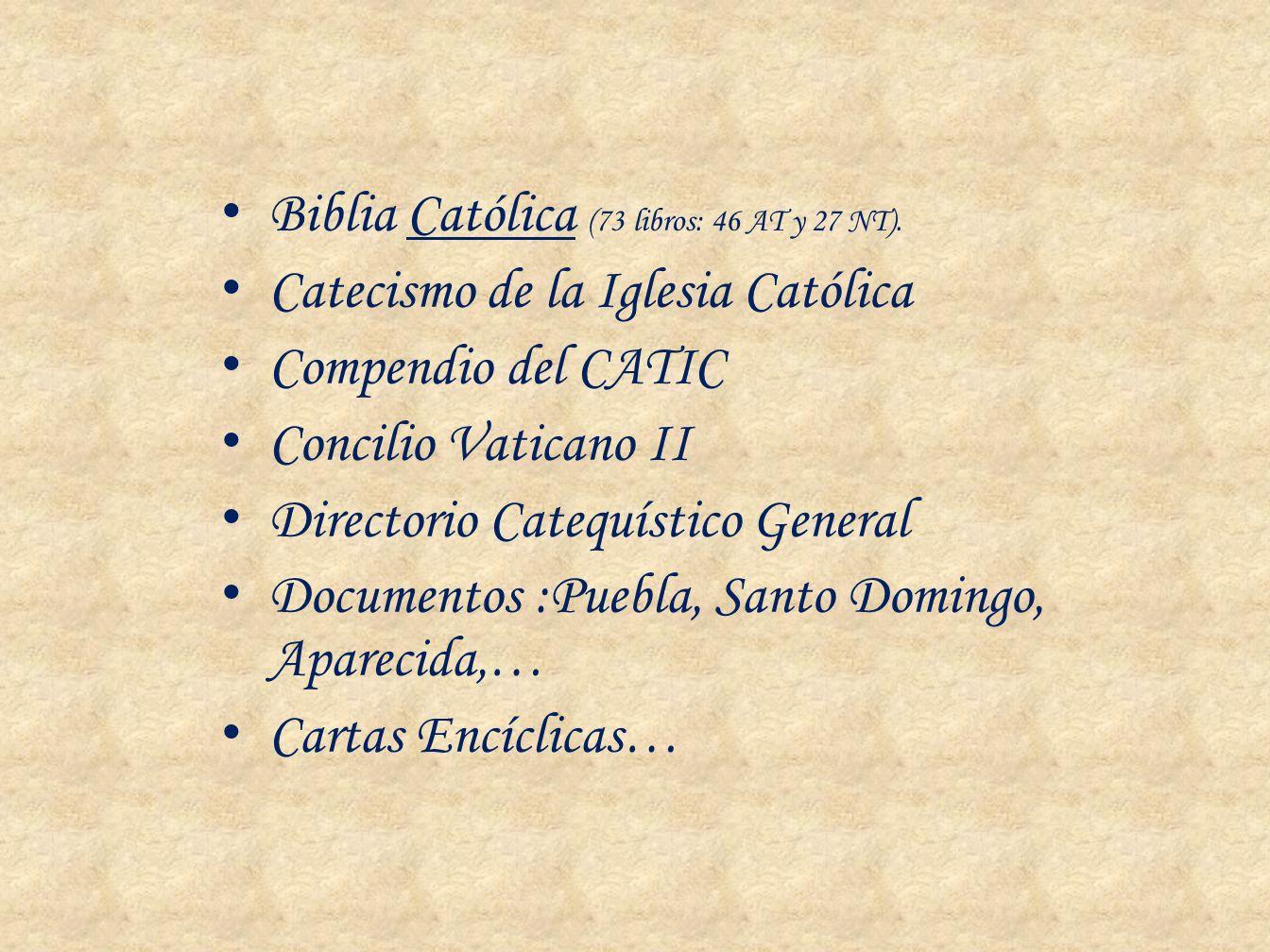 Biblia Católica (73 libros: 46 AT y 27 NT). Catecismo de la Iglesia Católica Compendio del CATIC Concilio Vaticano II Directorio Catequístico General