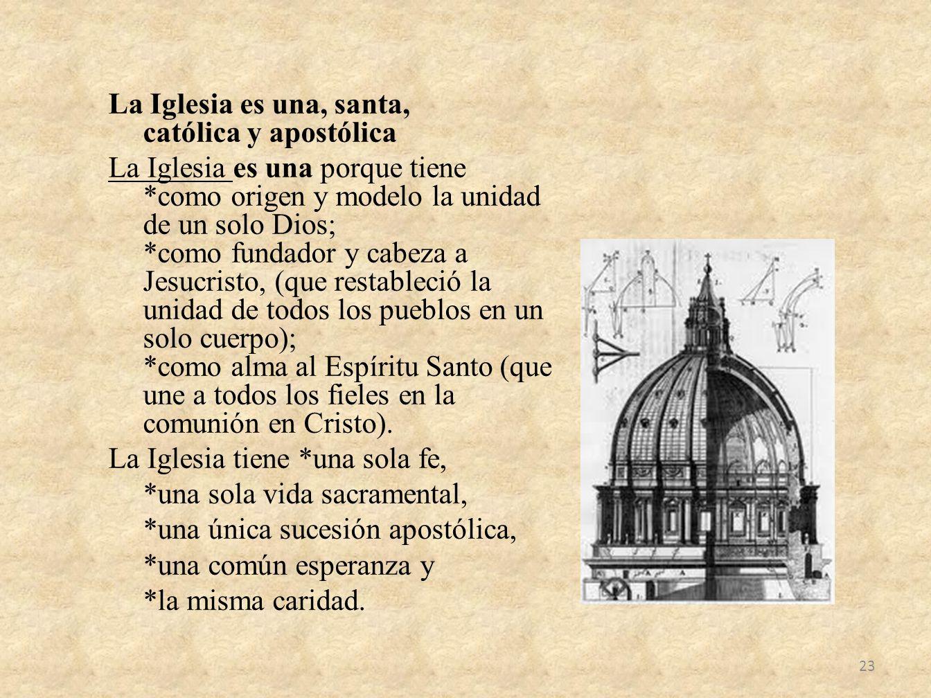 La Iglesia es una, santa, católica y apostólica La Iglesia es una porque tiene *como origen y modelo la unidad de un solo Dios; *como fundador y cabez