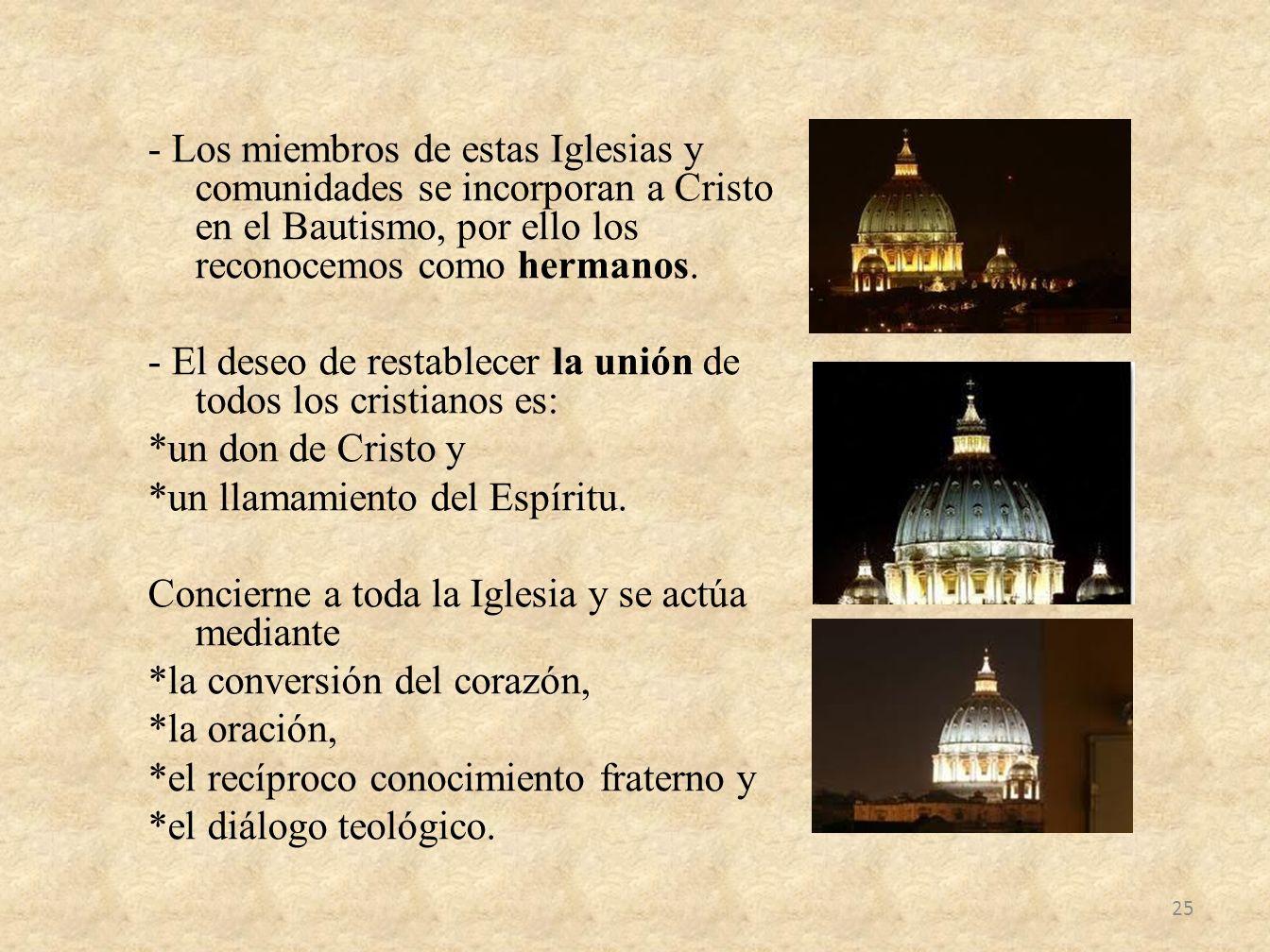 - Los miembros de estas Iglesias y comunidades se incorporan a Cristo en el Bautismo, por ello los reconocemos como hermanos. - El deseo de restablece