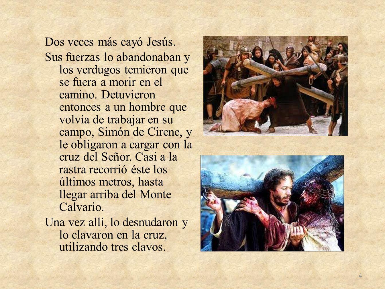 Dos veces más cayó Jesús. Sus fuerzas lo abandonaban y los verdugos temieron que se fuera a morir en el camino. Detuvieron entonces a un hombre que vo