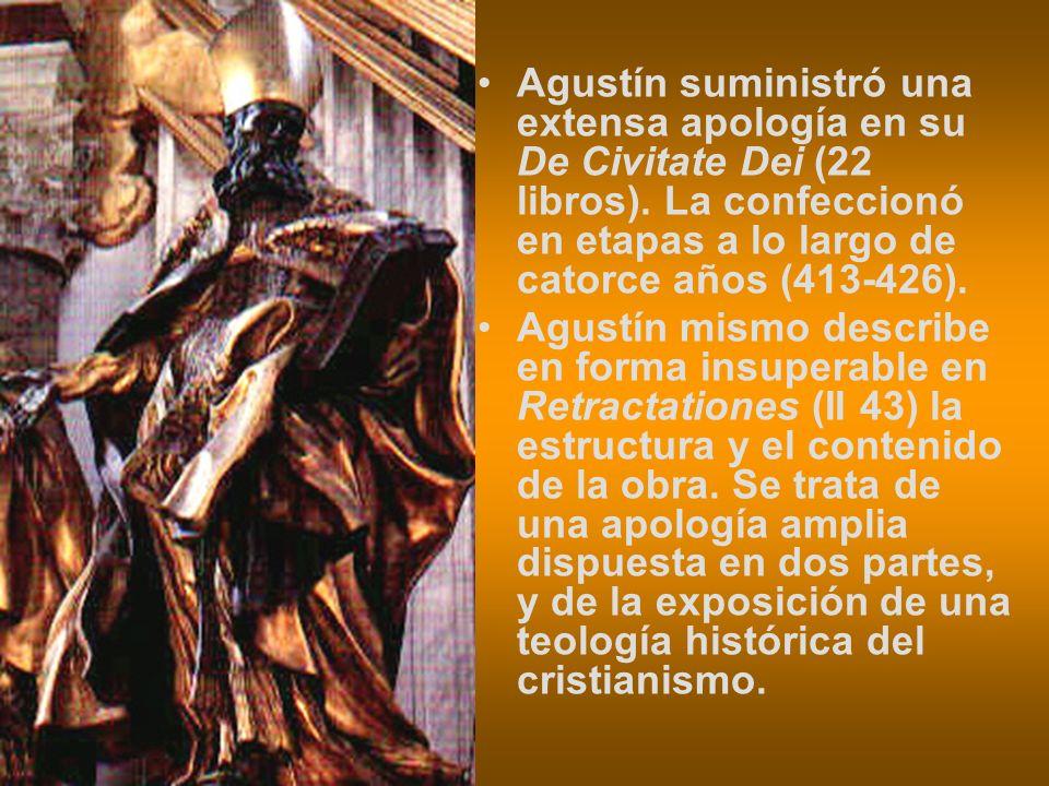 Agustín suministró una extensa apología en su De Civitate Dei (22 libros). La confeccionó en etapas a lo largo de catorce años (413-426). Agustín mism