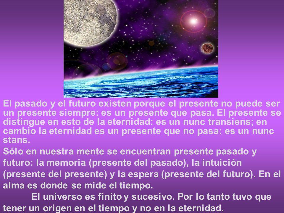 El pasado y el futuro existen porque el presente no puede ser un presente siempre: es un presente que pasa. El presente se distingue en esto de la ete
