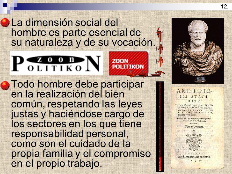 La dimensión social del hombre es parte esencial de su naturaleza y de su vocación. Todo hombre debe participar en la realización del bien común, resp