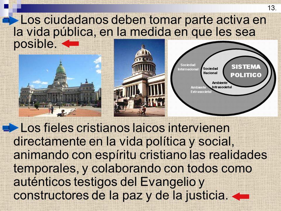 Los ciudadanos deben tomar parte activa en la vida pública, en la medida en que les sea posible. Los fieles cristianos laicos intervienen directamente