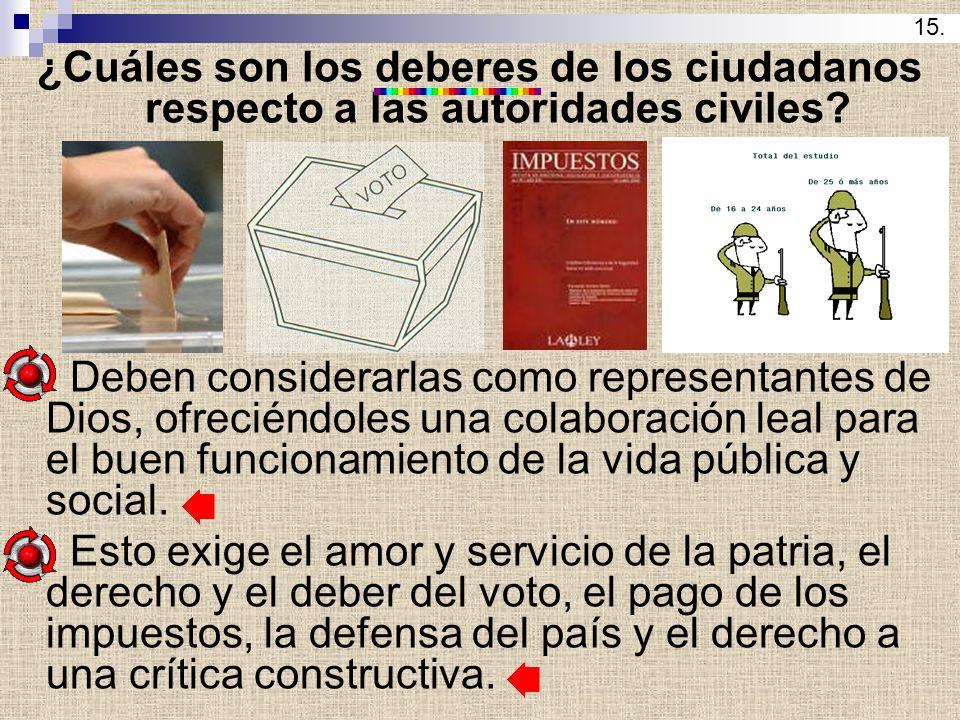 ¿Cuáles son los deberes de los ciudadanos respecto a las autoridades civiles? Deben considerarlas como representantes de Dios, ofreciéndoles una colab