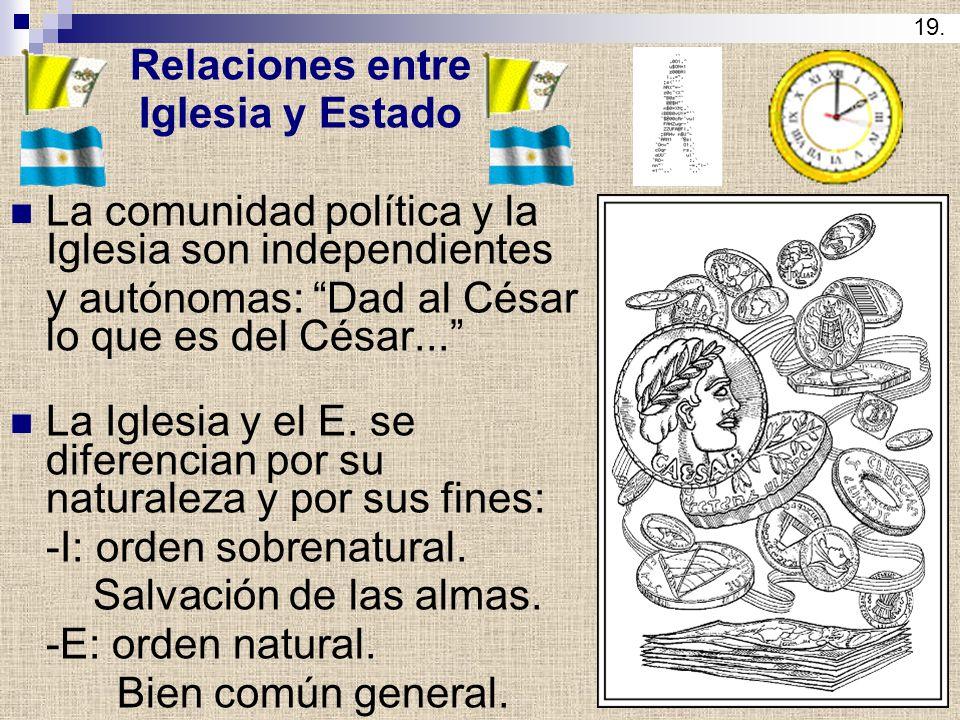 Relaciones entre Iglesia y Estado La comunidad política y la Iglesia son independientes y autónomas: Dad al César lo que es del César... La Iglesia y
