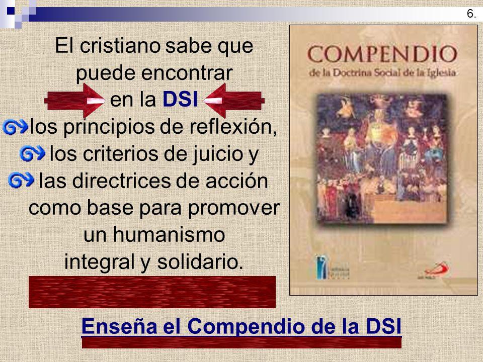 El cristiano sabe que puede encontrar en la DSI los principios de reflexión, los criterios de juicio y las directrices de acción como base para promov