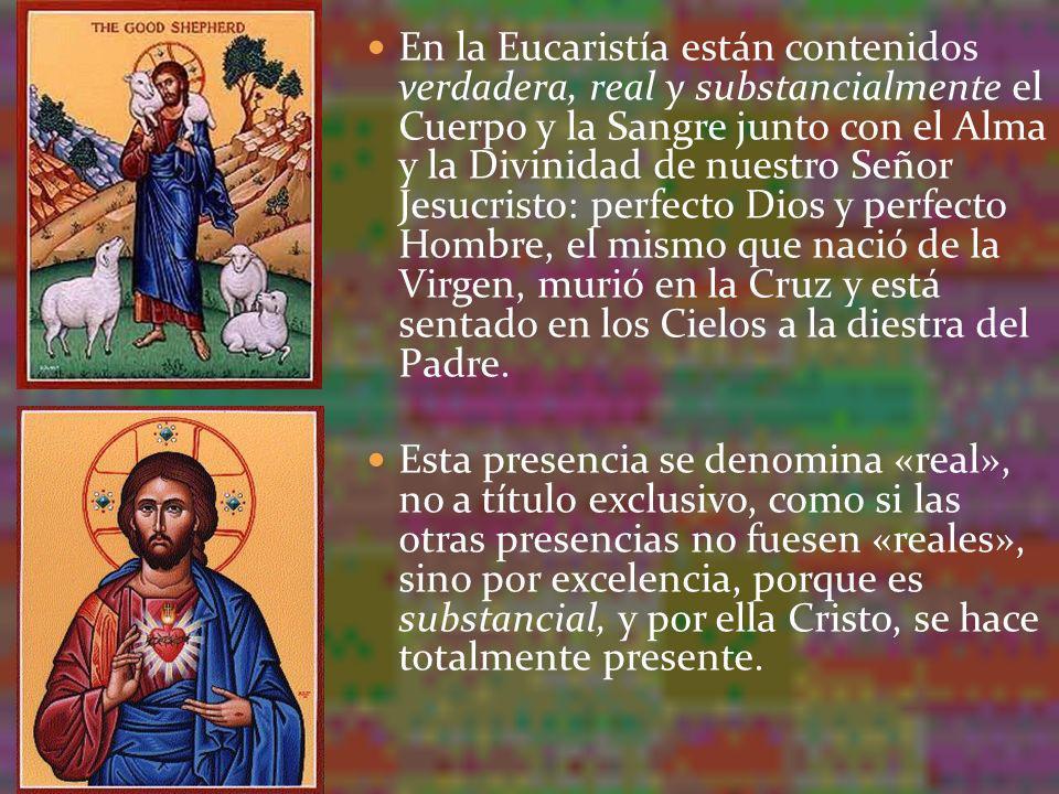 En la Eucaristía están contenidos verdadera, real y substancialmente el Cuerpo y la Sangre junto con el Alma y la Divinidad de nuestro Señor Jesucrist