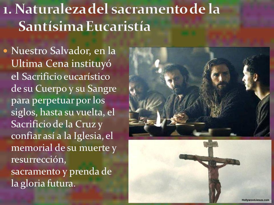 Nuestro Salvador, en la Ultima Cena instituyó el Sacrificio eucarístico de su Cuerpo y su Sangre para perpetuar por los siglos, hasta su vuelta, el Sa