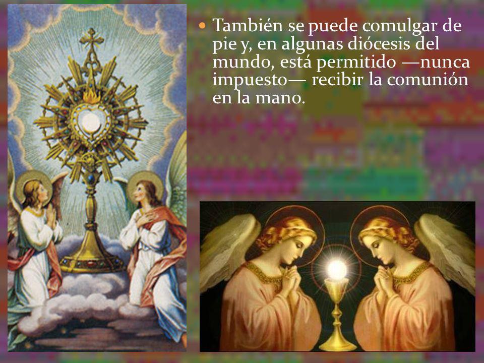 También se puede comulgar de pie y, en algunas diócesis del mundo, está permitido nunca impuesto recibir la comunión en la mano.