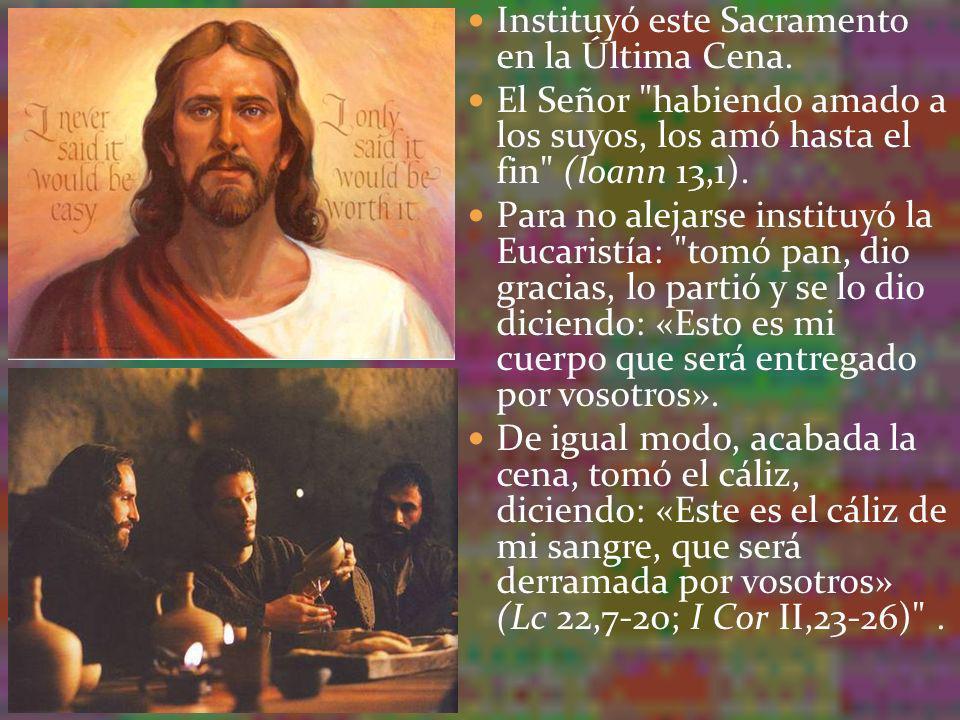 La materia de este sacramento es - el pan de harina de trigo y - el vino de uvas.