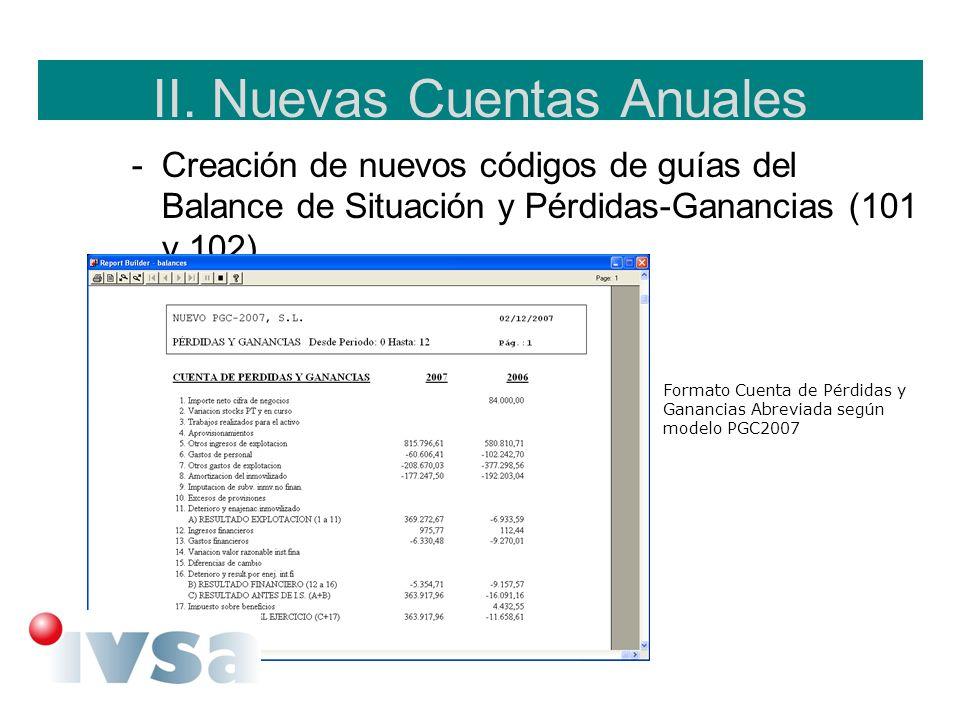 II. Nuevas Cuentas Anuales -Creación de nuevos códigos de guías del Balance de Situación y Pérdidas-Ganancias (101 y 102). Formato Cuenta de Pérdidas
