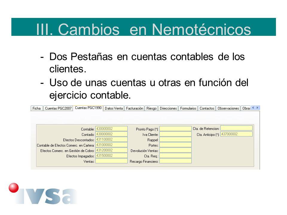 III. Cambios en Nemotécnicos -Dos Pestañas en cuentas contables de los clientes. -Uso de unas cuentas u otras en función del ejercicio contable.