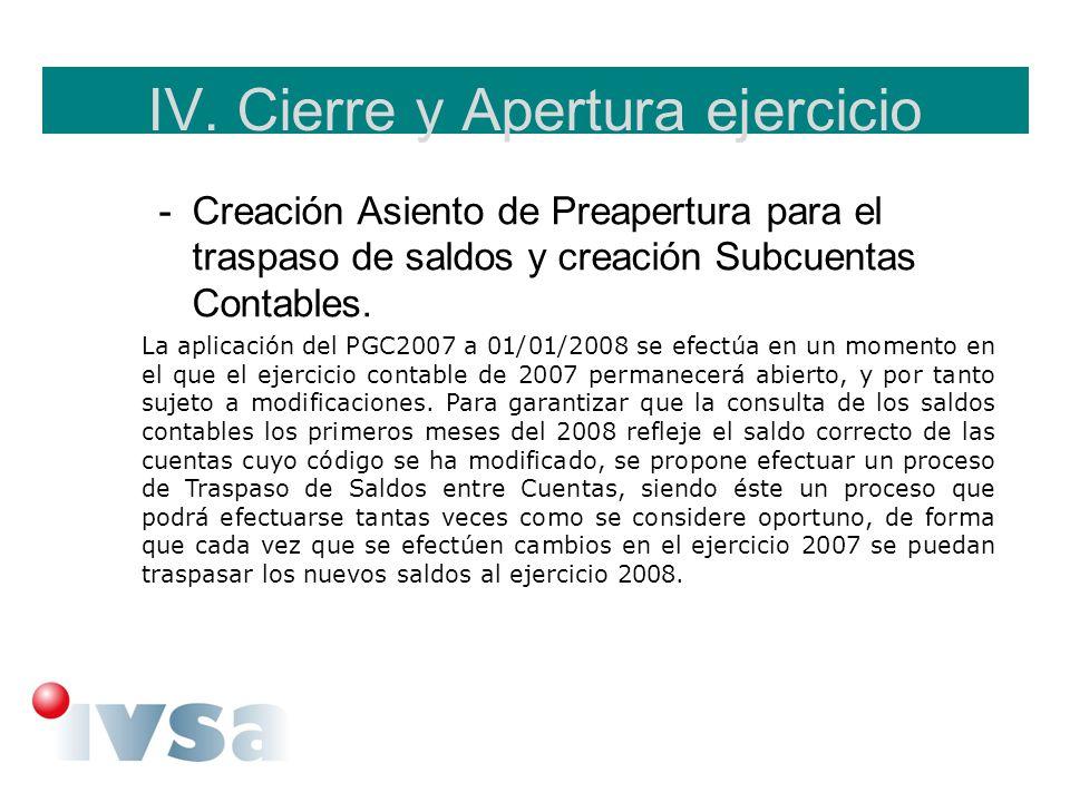 IV. Cierre y Apertura ejercicio -Creación Asiento de Preapertura para el traspaso de saldos y creación Subcuentas Contables. La aplicación del PGC2007