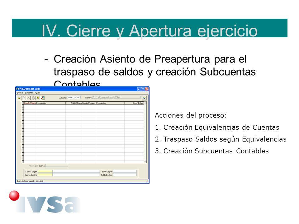 IV. Cierre y Apertura ejercicio -Creación Asiento de Preapertura para el traspaso de saldos y creación Subcuentas Contables. Acciones del proceso: 1.C