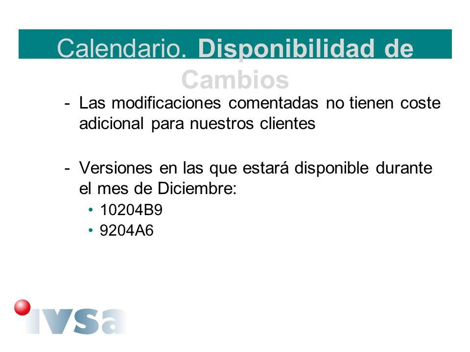 Calendario. Disponibilidad de Cambios -Las modificaciones comentadas no tienen coste adicional para nuestros clientes -Versiones en las que estará dis