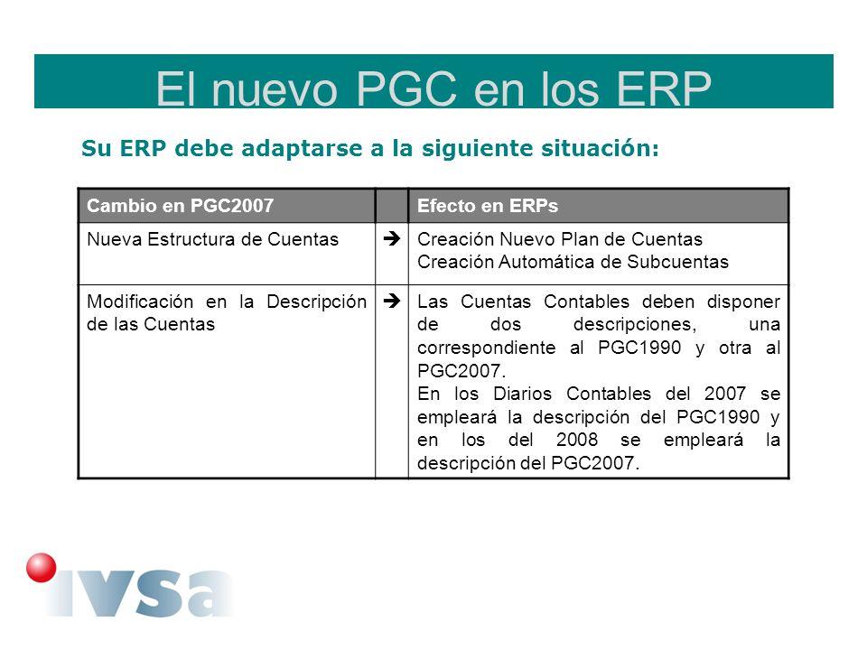 El nuevo PGC en los ERP Su ERP debe adaptarse a la siguiente situación: Cambio en PGC2007Efecto en ERPs Nueva Estructura de Cuentas Creación Nuevo Pla