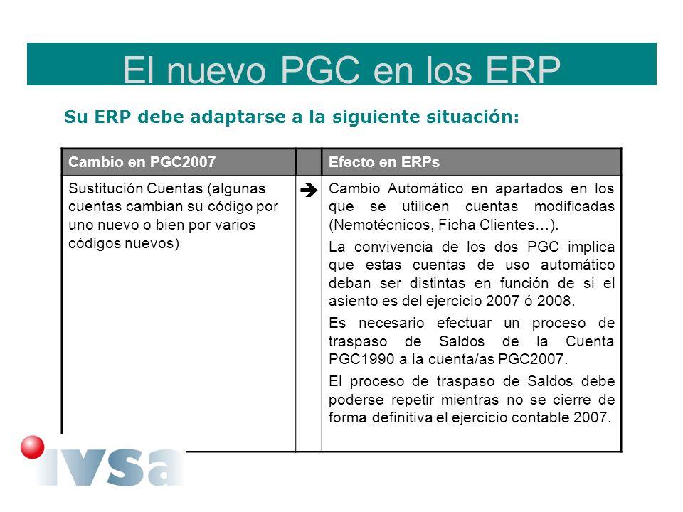 El nuevo PGC en los ERP Su ERP debe adaptarse a la siguiente situación: Cambio en PGC2007Efecto en ERPs Sustitución Cuentas (algunas cuentas cambian s