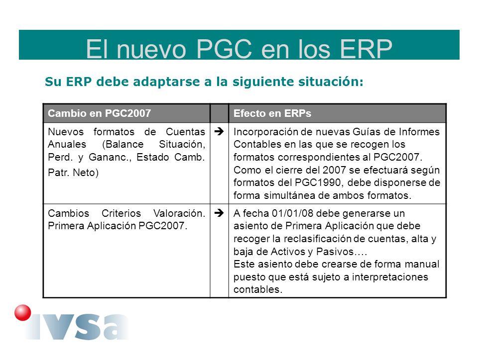 El nuevo PGC en los ERP Su ERP debe adaptarse a la siguiente situación: Cambio en PGC2007Efecto en ERPs Apertura Especial Ejercicio 2008 (el ejercicio en el que se aplica el nuevo PGC debe recoger todos los cambios) Proceso de apertura especial en el que se incorpora el traspaso de saldos de las cuentas contables modificadas, y la posibilidad de modificar el asiento de apertura para aplicar los nuevos criterios de valoración.