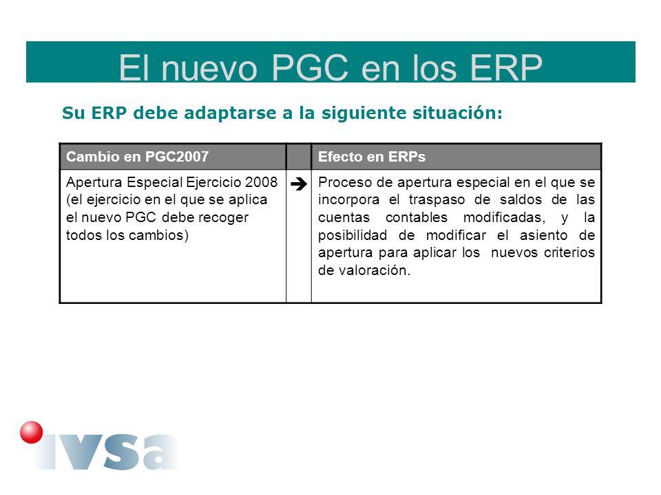El nuevo PGC en los ERP Su ERP debe adaptarse a la siguiente situación: Cambio en PGC2007Efecto en ERPs Apertura Especial Ejercicio 2008 (el ejercicio