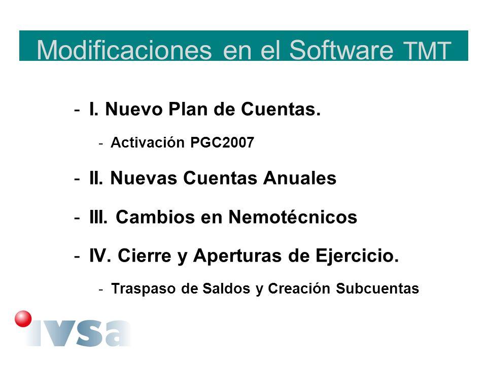 Modificaciones en el Software TMT -I. Nuevo Plan de Cuentas. -Activación PGC2007 -II. Nuevas Cuentas Anuales -III. Cambios en Nemotécnicos -IV. Cierre