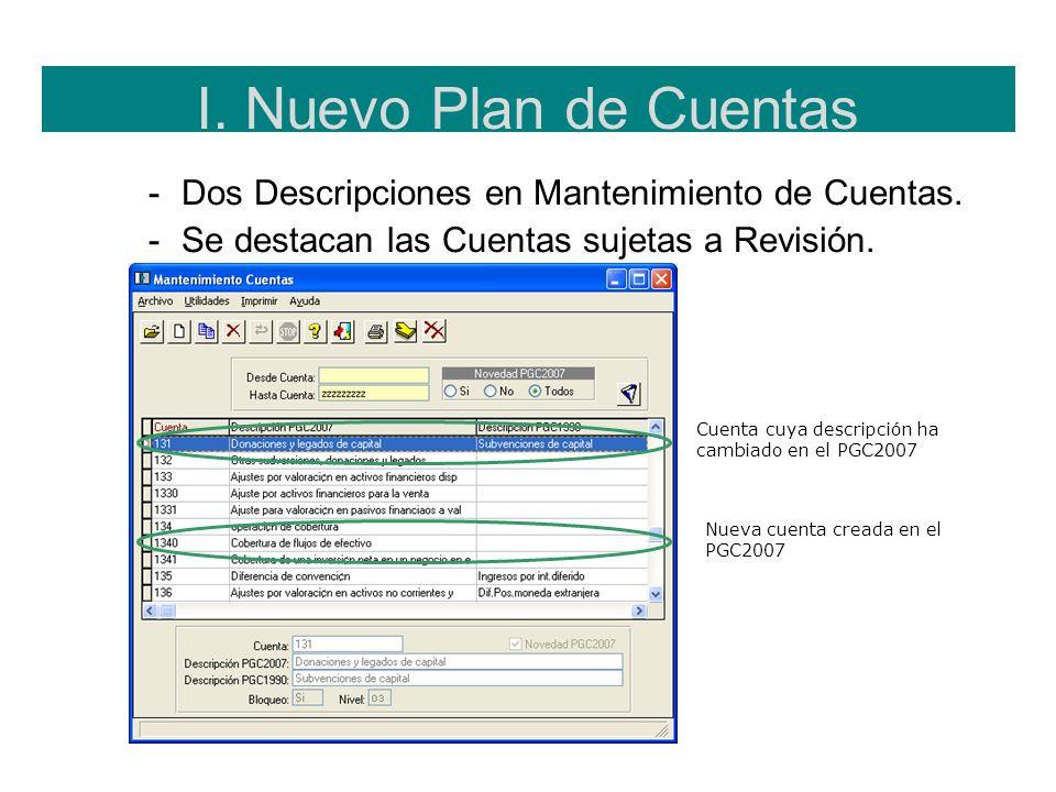 I. Nuevo Plan de Cuentas -Dos Descripciones en Mantenimiento de Cuentas. -Se destacan las Cuentas sujetas a Revisión. Cuenta cuya descripción ha cambi